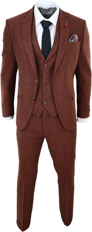 Mens Camel 3 Piece Tweed Suit Herringbone Wool Vintage Retro Fit