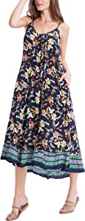 BUENOS NINOS Women's V Neck Floral Maxi Dress Boho Printed Adjustable Spaghetti Strap Ethnic Beach Long Dress with Pockets