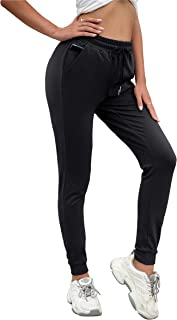 Welaneol Joggers for Women with Zipper Pockets,Women Drawstring Running Sweatpants Quick Dry for Gym Yoga Workout Running
