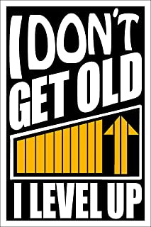 Spitzy's I Don't Get Old I Level Up 12 by 18 Inch Poster, Video Game Wall Artwork - Funny Gaming Design, Home Wall Art Decoration, Printed Bedroom Decoration