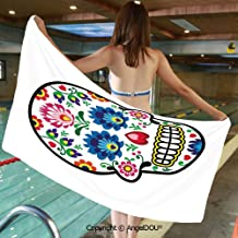 AngelDOU Lightweight Large Comfortable Microfibre Towel Polish Folk Art Style Mexican Sugar Skull Design Ethnic Carnival Theme Decorative Sports Travel Accessories Bath Towel.W31.4xL63(inch)