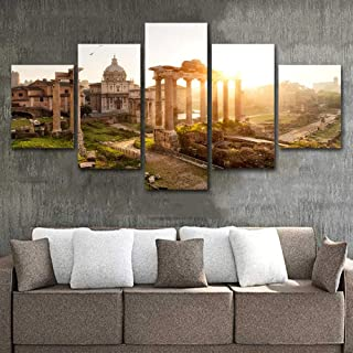Yyjyxd ArtSailing 5 Piece Canvas Painting The Roman Forum at Sunrise Pictures Wall Art Home Decoration for Living Room HD Prints poster-16x24/32/40inch,Without Frame