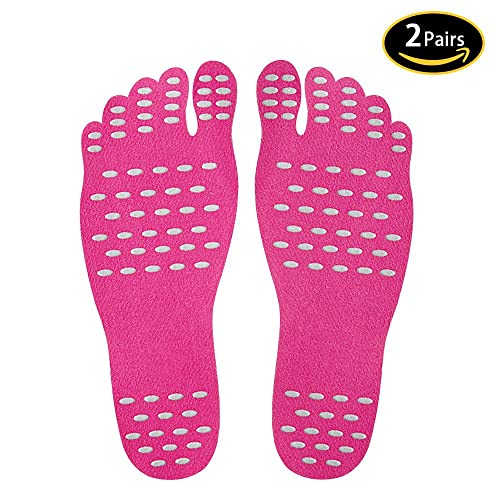 BEAUTING Invisible Beach Barefoot Pads 2 Pairs, Adhesive Foot Soles Sticker Water Shoes with Waterproof