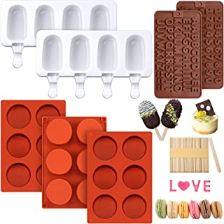 3 Pieces Round Cylinder Silicone Candy Mold 6 Holes Chocolate Cover Cookie Mold, 2 Pieces Silicone Popsicle Mold Ice Pop M...