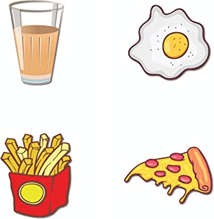 Bhai Please Cutting Chai, Fries, Half Fry and Pizza Slice Wooden Fridge Magnet (Pack of 4 pcs, one pc Each Design) Food, D...