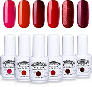 Perfect Summer Trend Classic Red Gel Polish Color 6PCS Nail Varnish Soak Off UV LED Manicure Nail Art System Gift Set 8ML 088
