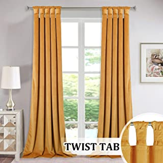 StangH Thick Velvet Curtain Panels - Sunlight Blocking Large Window Drapes with Twist Tab Design for Bedroom/Party/Hotel Hall, Warm Yellow, Wide 52 x Long 96-Inches, 2 Panels