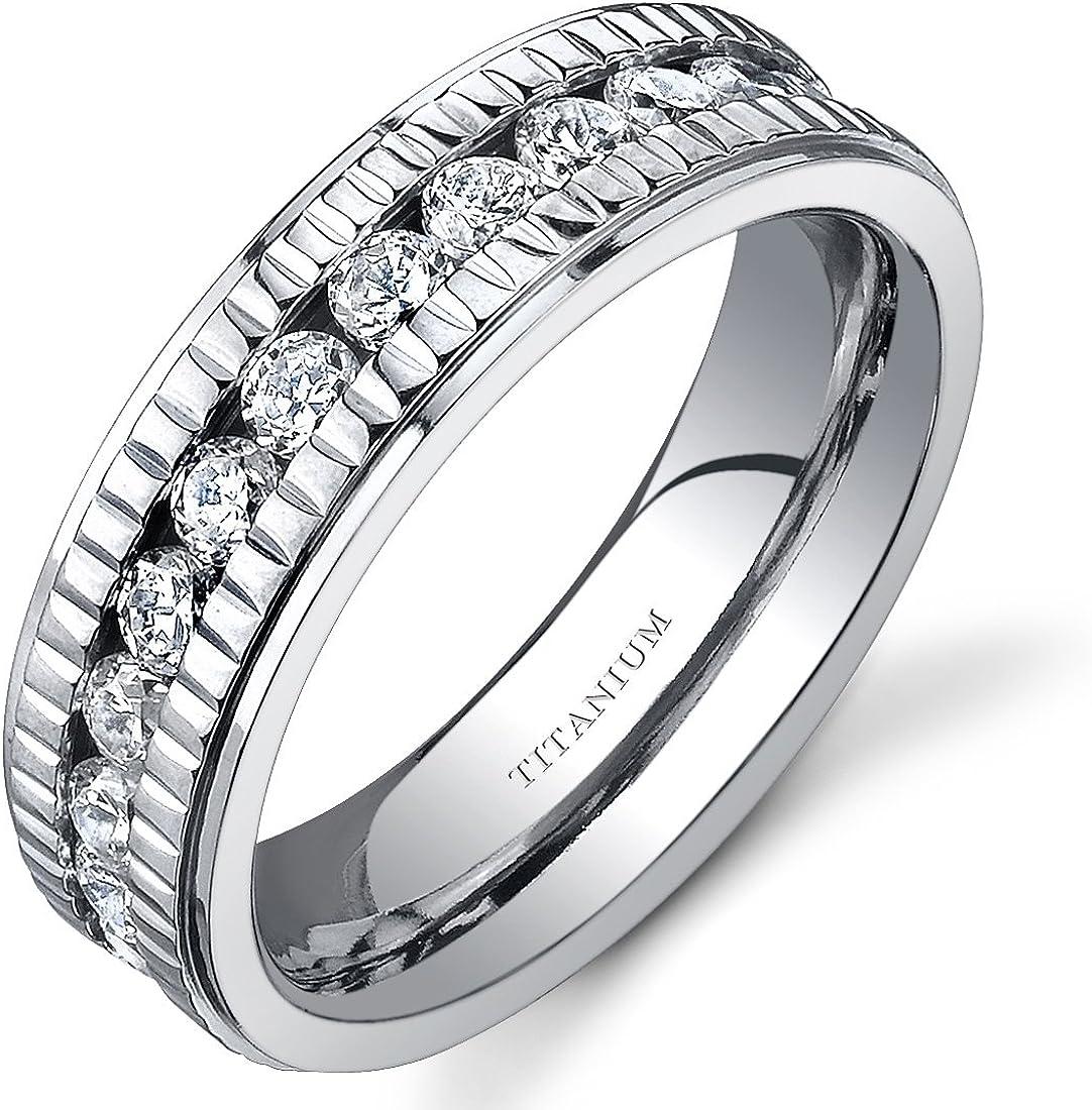Peora Women's Beauty products Titanium Eternity Purchase Ring Cubic Ann Zirconia Wedding