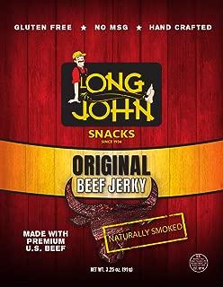 Long John Snacks Beef Jerky (Original) - 4 Packs of 3.25 oz, 6g of Protein per Oz, Gluten Free, No MSG, Naturally Smoked Premium U.S. Beef