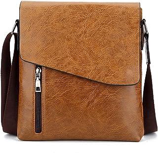 Messenger Bag for Men, PU Leather Crossbody Bag Work Briefcase Satchel Shoulder Sling Work Bag,Orange