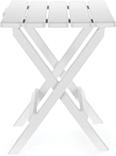 Camco 51695 White Large Adirondack Portable Outdoor Folding Side Table, Perfect for The Beach, Camping, Picnics, Cookouts and More, Weatherproof and Rust Resistant
