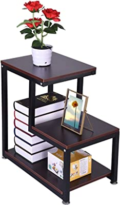Bedside Cabinet 3-Layer Storage Side Table Living Room Sofa Table Coffee Table Chair Side Table Night Stand with Storage Shelf for Room Nightstand Telephone Table