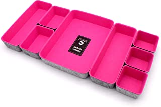 $49 » Welaxy Office Drawer Organizers Shallow Trays Drawers dividers Felt Storage Bins Organizer bin for Jewelry Cosmetic Makeup Junk Sturdy Box,Pack 8 (hot Pink)