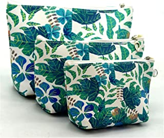 XICHEN 3 PCS cosmetic bag waterproof cosmetic bag large capacity pu leather, Bathroom, Storage (3 Sizes) (Tropical rainforest leaf)