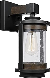 Globe Electric 65931 Williamsburg 1-Light Wall Sconce, Dark Bronze, Dark Wood Finish Accents, Seeded Glass Shade