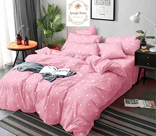 Spangle Homes 100 Soft Glace Cotton Queen Size Elastic Fitted Bedsheet with 2 Large Pillow Covers Self Design Design Pink Dots Elastic Double