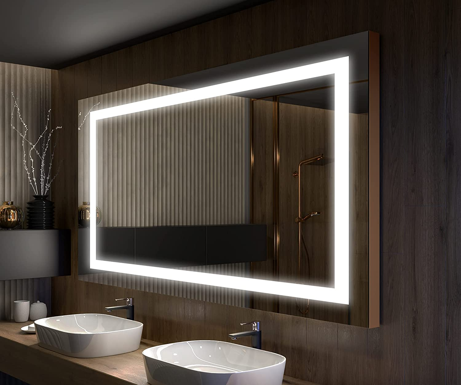 Buy Artforma Bathroom Led Lighted Mirror 60 X 32 Inch Illuminated Backlit Vanity Mirror Dimmable Leds Touch Button Anti Fog Led Clock Fully Customizable L15 Online In Taiwan B087c48lm7