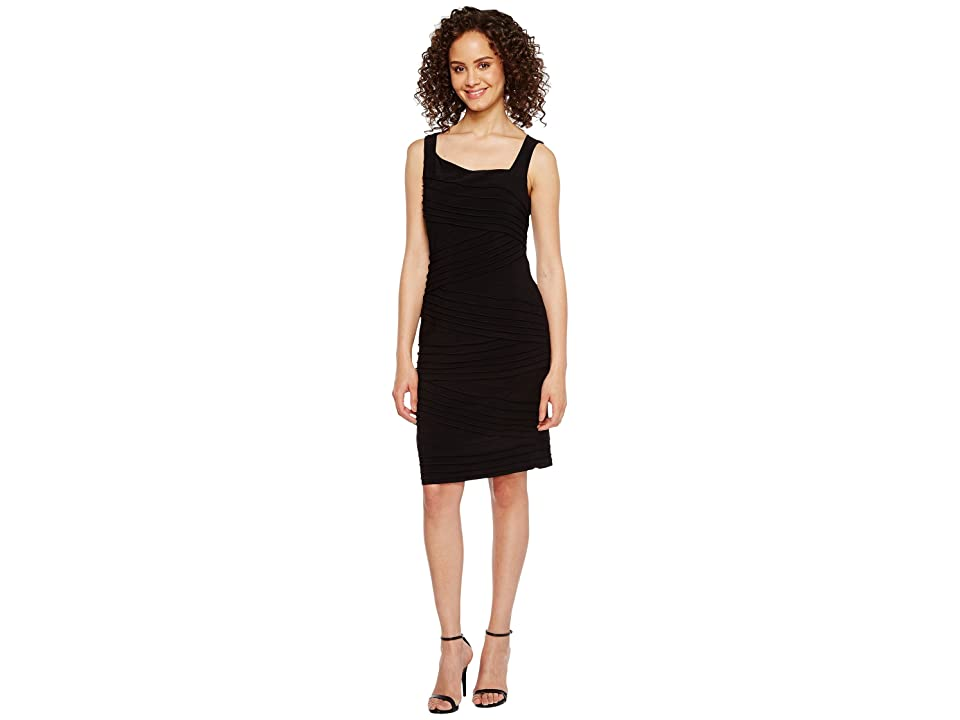 Adrianna Papell Variegated Striped Banded Jersey Sheath Dress (Black) Women