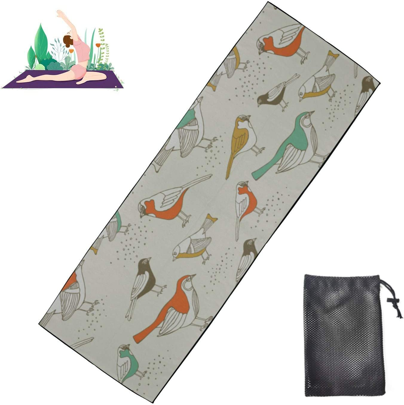 Huqalh Non-Slip Yoga Mat Towel Cute Spring Retro Bird Max 49% OFF Love New products, world's highest quality popular! Paper