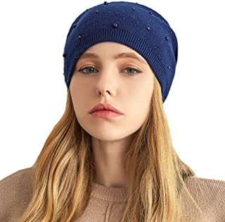 VIANOSI Cashmere Winter Hats for Women Soft Winter Beanies for Women Pearl Cap Knit Wool Hat for Winter Fall