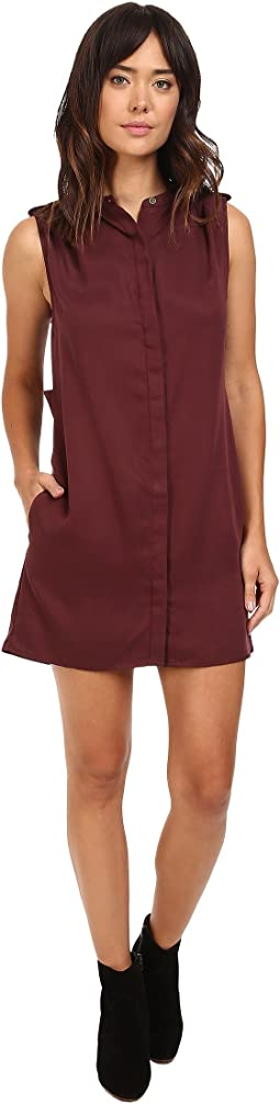 Tencel Sleeveless Shirtdress w/ Pleated Shoulder