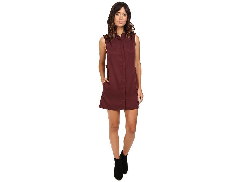 Michael Stars Tencel Sleeveless Shirtdress w/ Pleated Shoulder (Rosewood) Women