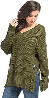 Joeoy Women's V Neck Long Sleeve Ripped Sweater Jumper Pullover