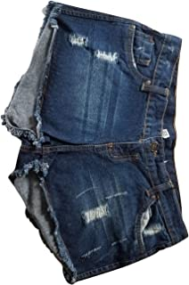SkyHi Fashion Women's Low Waist Fringe Distressed Denim Shorts