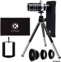 CamKix Lens Kit Compatible with Samsung Galaxy S7 & S7 Edge - 12x Telephoto Lens, Fisheye Lens, Macro Lens, Wide Angle Lens, Tripod, Phone Holder, Holder Ring, Hard Case (2X), Velvet Bag and Cloth