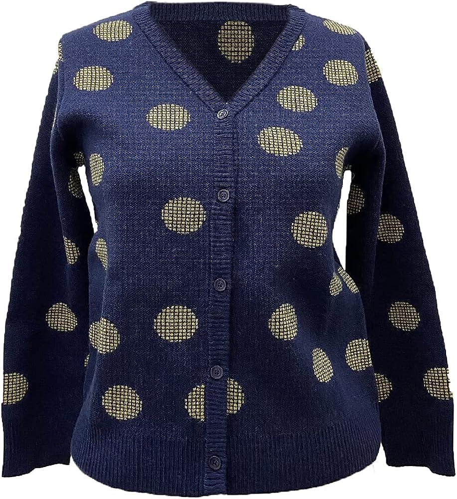 Women's Cardigan Button Down Long Sleeves V-Neck in dot Print Trendy Knitwear