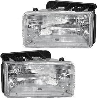 Halogen Headlights Headlamps Pair Set Replacement for 91-96 Dodge Dakota Pickup Truck 55054715 55054714