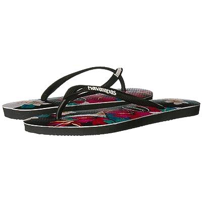 Havaianas Slim Tropical Floral Sandal (Black) Women
