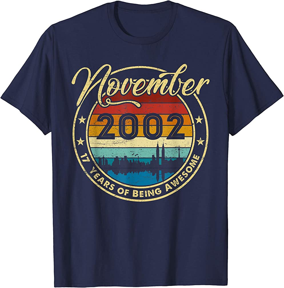 Classic November 2002 17 Years Old 17th Birthday Gift T-shirt