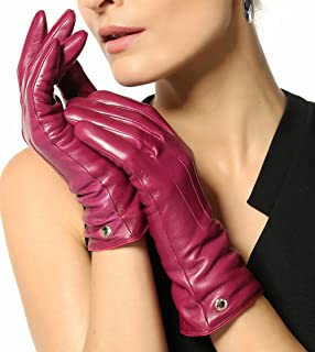 Elma Womens Classic Touchscreen Texting Winter Warm Driving Hairsheep Leather Gloves 100% Pure Cashmere Lined