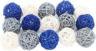 ALLHEARTDESIRES 15PCS Mixed Navy Blue Gray White Decorative Wicker Rattan Ball Nautical Themed Party Wedding Birthday Baby Shower Decoration