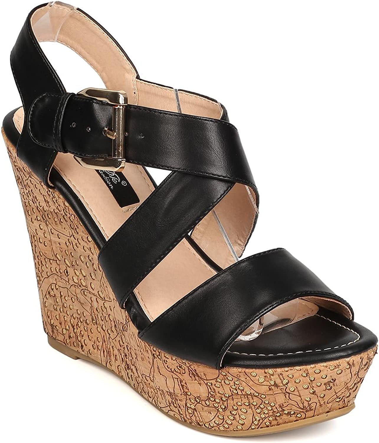 DBDK Women Leatherette Open Toe Cross Strap Cork Platform Wedge Sandal FA93 - Black
