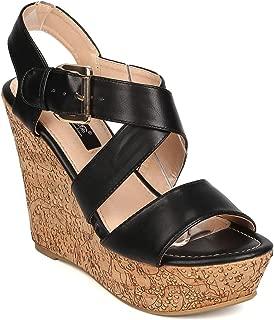 Women Leatherette Open Toe Cross Strap Cork Platform Wedge Sandal FA93 - Black