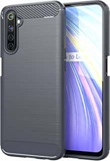for OPPO Realme 6S Case Brushed Carbon Fiber Texture Style Ultra-thin TPU Soft rubber Anti-drop Protective Cover-Grey