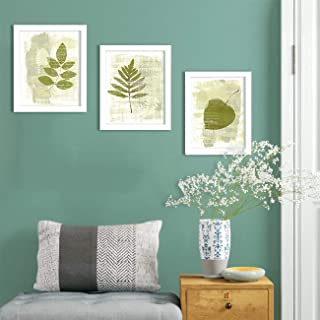 Painting Mantra - Green Nature Set of 3 White Framed Painting,UV Textured Art Prints (9 x 11 inch)