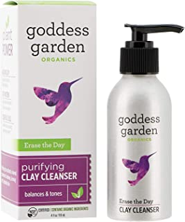 Goddess Garden - Erase the Day Purifying Clay Cleanser - Sensitive Skin, Certified Organic, Vegan, Leaping Bunny Certified Cruelty-Free, Paraben-Free, Certified B Corp - 4 oz Bottle
