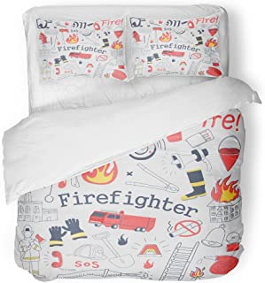 SanChic Duvet Cover Set Red Firefighter Freehand Doodle Fireman Extinguisher and Equipment Decorative Bedding Set with Pillow Case Twin Size