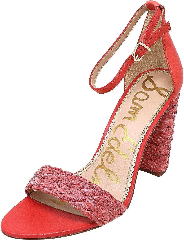 Sam Edelman Yoana Raffia Leather Ankle-High Heel Sandals Coral