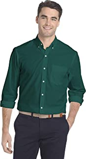 Men's Slim Button Down Long Sleeve Stretch Performance Solid Shirt