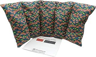 """Cuscino termico """"Flowers-green"""" - 50 x 20 cm (XL) - pieno di noccioli di ciliegia 800gr - effetto freddo/caldo . saco term..."""