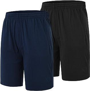 JINSHI Men's Pyjama Bottoms Lounge Wear Shorts Soft Cotton Pyjama Shorts with Pockets 2 Pack