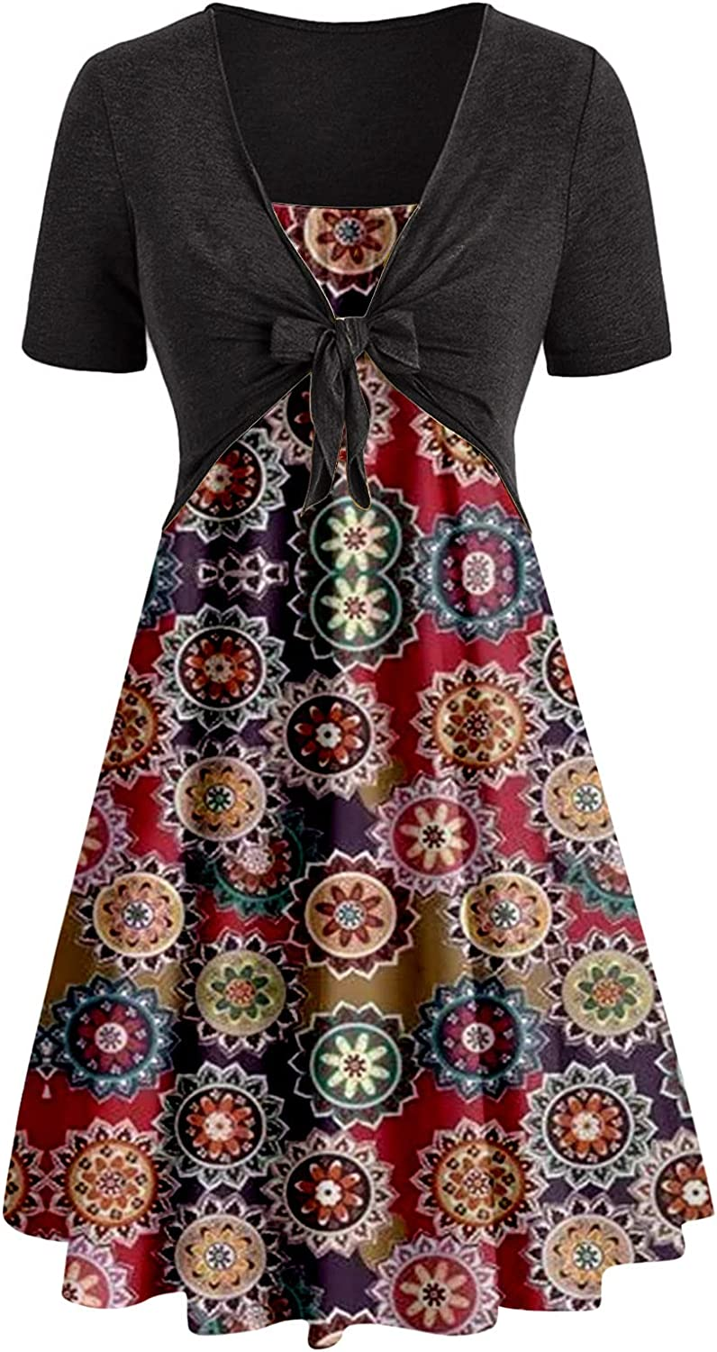Summer Dresses for Women Outfits Two Piece Fashion Sunflower Print Bowknot Top Cocktail Dress Midi Dress