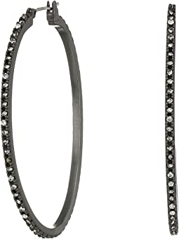Lucky Brand - Oxidized Pave Hoop Earrings
