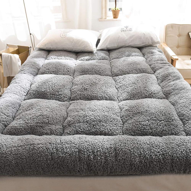 Autumn Winter Thicken Warm Lamb Cashmere Mattress, Single Double Tatami Cushion Quilted Mattress Elasticated Corner Straps-B W100xH200cm(39x79inch)
