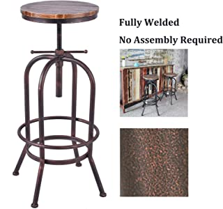 Articial Retro Industrial Bar Stool Solid Wood and Metal Height Adjustable Swivel Counter Height Dining Chair