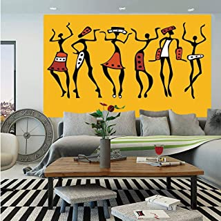 SoSung Afro Decor Huge Photo Wall Mural,African Dancers Sketchy Characters Ethnic Group Clan Disco Happy Graphic,Self-Adhesive Large Wallpaper for Home Decor 100x144 inches,Mustard Orange